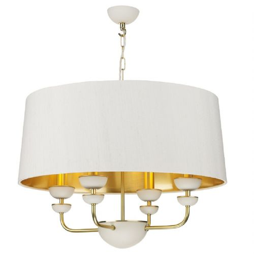 Lunar 4 Light Pendant Brass/White + Silk Shades Gold Lined (Spec Col, 7-10 day Del)
